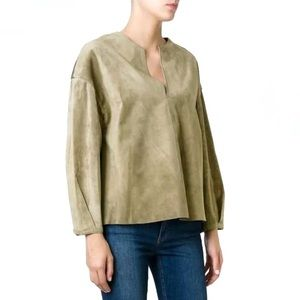 Tory Burch Suede Leather Peasant Blouse